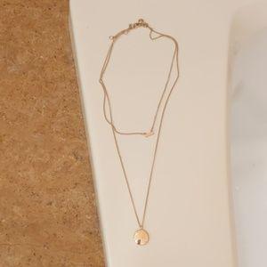 J. Crew factory gold tone double necklace